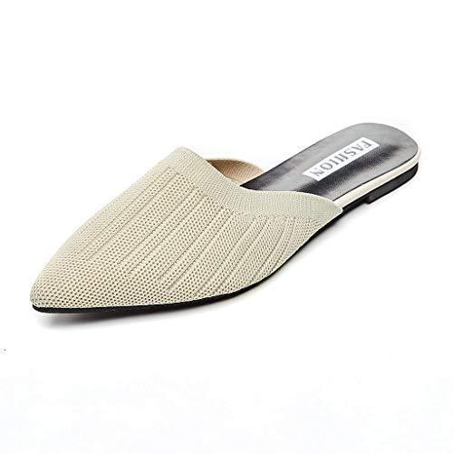 Femme Chaussons Sandales Chaussures - Bluestercool Elegant Bout Pointu Chaussons Mocassins Décontracté Plat Dos Nu Chaussures Paresseuses