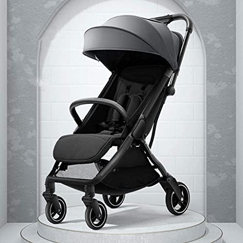 Cochecito de bebé portátil – Cochecito de bebé ligero recién nacido, convertible reclinable con amortiguadores, rápido doblado con una mano en segundo -Bl (color: gris)