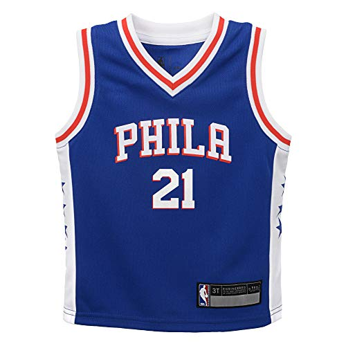 NBA Kids 4-7 Official Name and Number Replica Home Alternate Road Player Jersey (4, Joel Embiid Philadelphia 76ers Blue)
