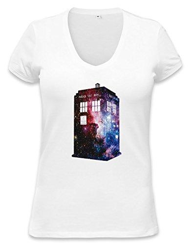 Galaxy Time Machine Womens V-neck T-shirt Small