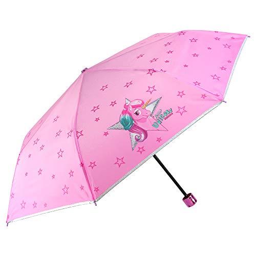 Einhorn Kinder Regenschirm Mädchen - Unicorn Taschenschirm Minischirm - Regenschirm Klein Windfest - Pink Rosa Sterne und Rand Silber mit Glitzern - 7+ Jahren - Durchmesser 91 cm - Perletti Cool Kids