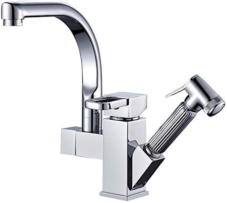 Küchenarmatur Doppelgriff Ausziehbar 360 ° Drehen Gebürstet Nicke Wasserhahn Moderne Kitchen Sink Mischbatterie Kitchen Sink Taps Kupfer