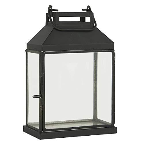 Ib Laursen Laterne / Stumpenkerzenhalter aus schwarzem Glas mit Haken 24 cm