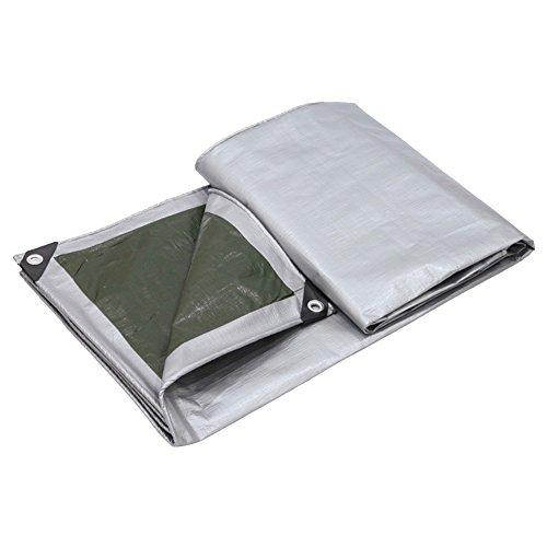 PENGFEI Bâche Protection Double Imperméable L'eau Épaissir Protection Solaire Pluie Toile De Hangar Voiture Couvercle Anti-corrosion, Gris + Vert, Épaisseur 0.35 MM, 160 G/M², 9 Options De Taille