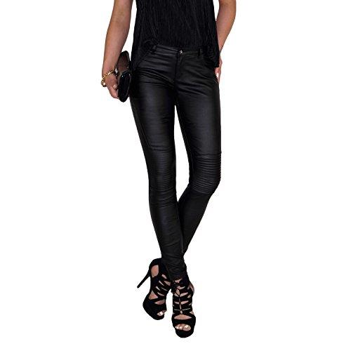 Dresscode-Berlin DB Damen Stretch Kunstleder Hose mit Lamellen im Kniebereich in schwarz und rot (XS / 34, Schwarz)