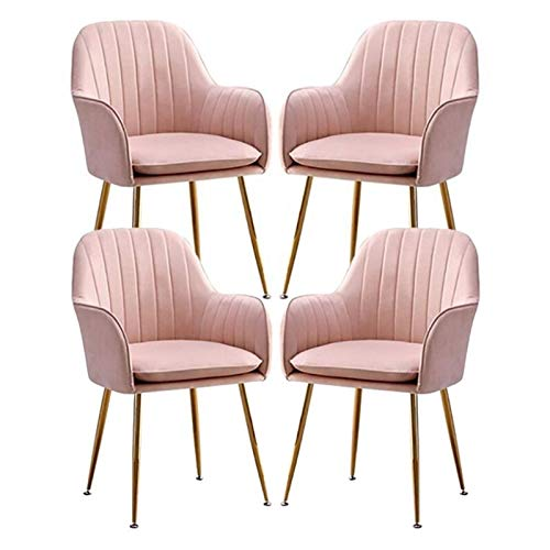 Set of 4 Velvet Dining Chair Metal Legs Armchair with Upholstered Soft Seat & Backrest for Kitchen Lounge Bedroom Living Room Accent Tub (Color : Pink)