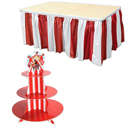 Beistle Big Top Circus Party Decorations Kit with Red & White Striped Table Skirting & 3-Tier Cupcake Stand