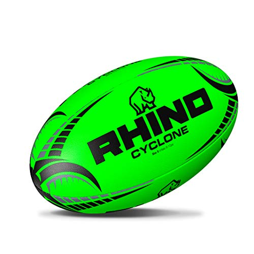 RHINO RUGBY Cyclone Practice Ball | Fluorescent Green | Size 5