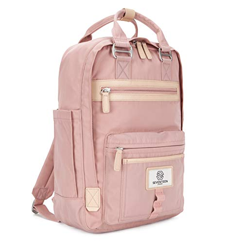 SEVENTEEN LONDON – Modern Urban Unisex Pink 'Wimbledon' Backpack in a Classic Slim Simple Design – Fits Laptop up to 13""
