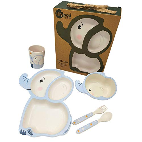 LILY PAD + LITTLE MR - Eco Friendly Bamboo Fibre Dinnerware Set for Boys and Girls (Little Ellie Elephant) | Toddler Gifts | Baby Bowls | Divided Plate, Bowl, Utensils, Cup | Kids Personalised Dishes