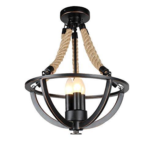 Lámparas de chandeliers Cuerda de cáñamo industrial E14 Luz de techo Bombilla de vela Lámpara colgante de metal vintage Lámpara de araña Retro con acabado pintado en negro Iluminación interior for com