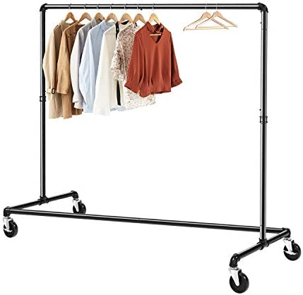 Greenstell Clothes Rack Industrial Pipe Clothing Garment Rack on Wheels with Brakes Commercial product image