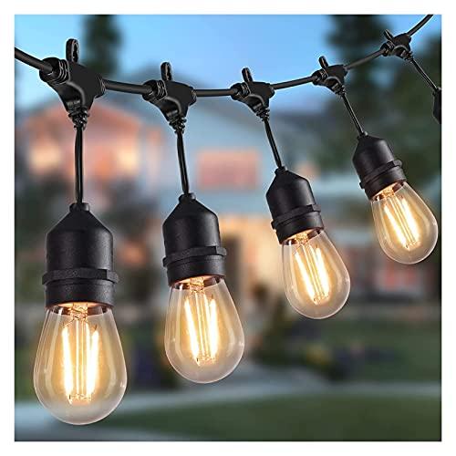 DIRIGIÓ Luces de cadena al aire libre 14m /48 pies Luces de patio a prueba de agua con 15 bombillas a prueba de roturas,luces colgantes comerciales para patio trasero,porche,fiesta bistró,CE Listado,
