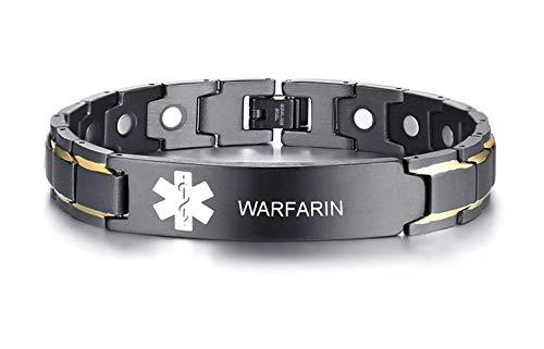 VNOX Warfarin - Pulsera de alerta médica con símbolo de acero inoxidable, diseño de símbolo de color negro y blanco