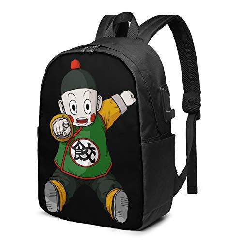 Chiaotzu Dragon Ball 3D Animation USB Backpack School Bag School Bookbag Travel Bag Computer Bag