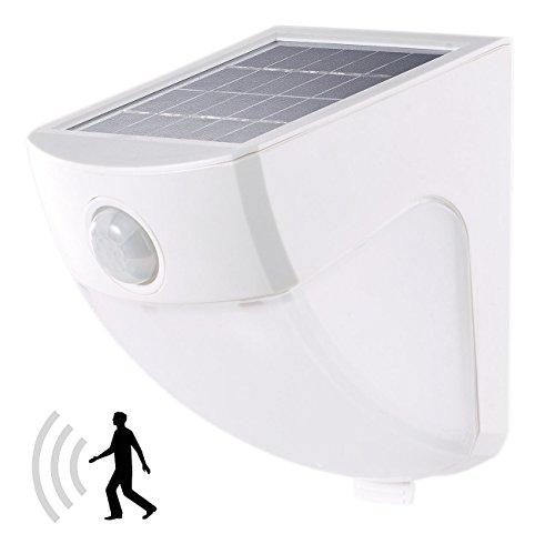 Lunartec LED Bewegungsleuchte: Solar-LED-Wandleuchte mit PIR-Sensor, 4 LEDs, 220 lm, 2 W, IP44, 5000K (LED-Solar-Außenlampe Neutrallicht)