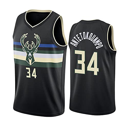 RUBAPOSM Hombres Mujeres Jerseys Milwaukee Bucks # 34 Giannis Antetokounmpo Uniforme de baloncesto City Edition Jerseys Camisetas de baloncesto bordadas transpirables Swingman,Negro,L