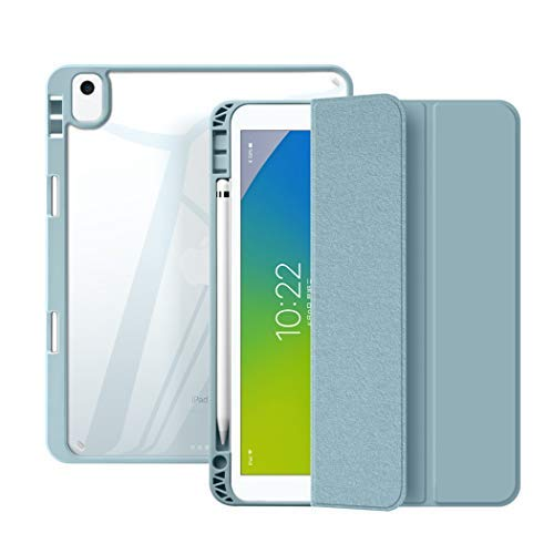 SUOLONG Funda con soporte para bolígrafo para iPad 7/8ª generación 10,2 pulgadas, transparente, color azul