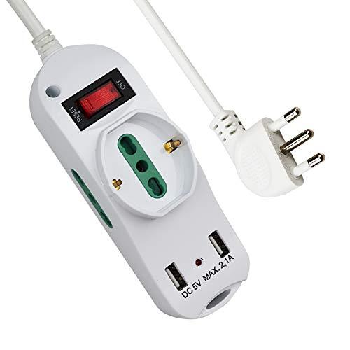 Extrastar Multipresa con 1 Polivalenti e 2 Bivalenti 10/16A,2 Porte USB (5 V, max 2,1 A),Viaggia stile,piccolo,nuovo stile,Bianco, 2500 W, 250 V,Cavo 1.5 m