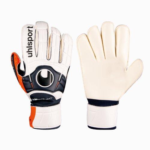 uhlsport Herren Torwarthandschuhe Ergonomic Soft R, weiß/Marine/orange, 8,5