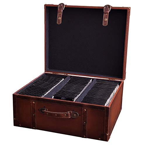 フェイクレザー ビンテージ スーツケース スタイル CD ケース