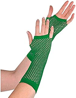 Amscan 397288.03 Perfect Team Spirit Fishnet Fingerless Glove Accessory, Green, One Size, 2ct Party Supplies