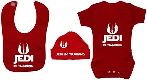Acce Products Jedi in Training Body pour bébé Barboteuse et bonnet 0 à 12 mois - Rouge - 0-3 mois