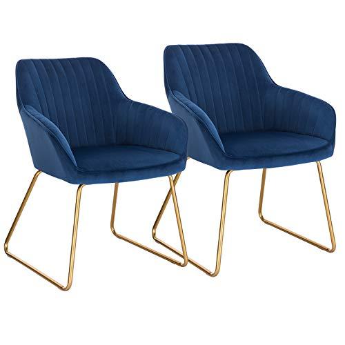 WOLTU Esszimmerstühle BH246bl-2 2er Set Küchenstuhl Polsterstuhl Wohnzimmerstuhl Sessel mit Armlehne, Sitzfläche aus Samt, Gold Beine aus Metall, Blau