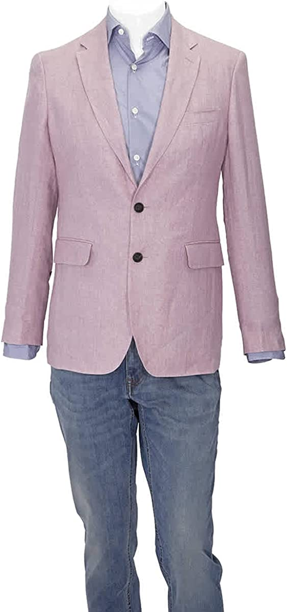 BURBERRY Soho Single-Breasted Linen Jacket in Pink, Brand Size 50R (US Size 40)