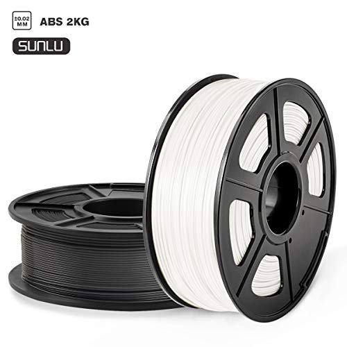 SUNLU ABS 3D Printer Filament, ABS Filament 1.75mm Dimensional Accuracy +/- 0.02 mm, 2 kg Spool, 1.75mm, ABS Black+White