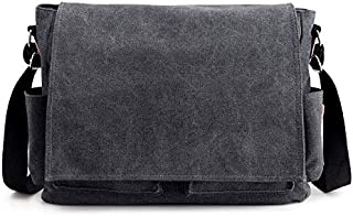 Solid Color Multi-Function Cloth Bag Large Capacity Men's Shoulder Computer Bag Canvas Bag Men Bag JAUROUXIYUJINn (Color : Black)