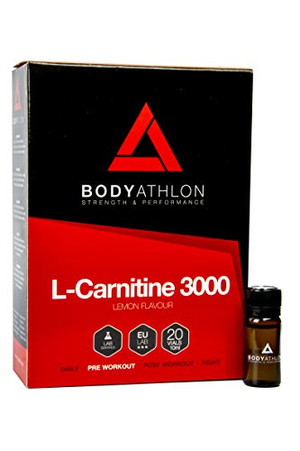 Bodyathlon – L Carnitina 3000 Liquid Shots – Lemon flavor– Fat Burner – 20 vials x 10ml
