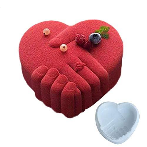 BGREN Main dans la Main Coeur Silicone gâteau Moule Amour 3D Cupcake gelée Pudding Cookie Muffin Moule Bricolage Conception Moule Outils de Cuisson-Blanc