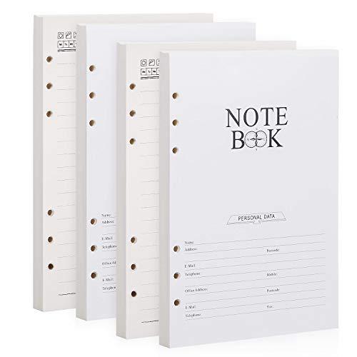 BESTOO A5 Recargas de Papel con Forro de 6 Agujeros 100gsm Recambio de Papel para Cuadernos de Cuero Diario, 160 hojas / 320 páginas(refill paper)