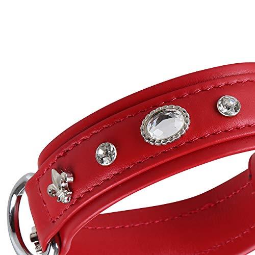 MICHUR Julieta Hundehalsband Leder, Lederhalsband Hund, Halsband, Rot, Leder, mit Lilien,Strasssteinen und großem Kristall, Schmuckhalsband