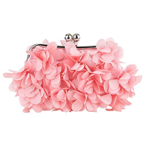 Bonjanvye Floral Clutch Purses for Women Satin Evening Bag-Pink