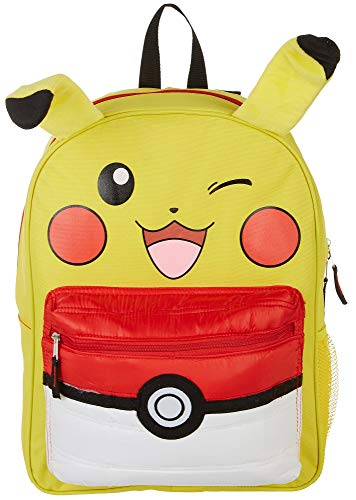 Pokemon Pikachu 16' Backpack with Puff Pocket, Yellow, Size 16.0