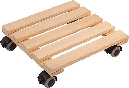 Metafranc Pflanzenroller 300 x 300 mm - 60 kg Tragkraft - Kiefer-Platte - Natur - TPE-Rollen mit 4 Feststellern / Indoorroller / Blumenroller / Transporthilfe für Pflanzen / 825280