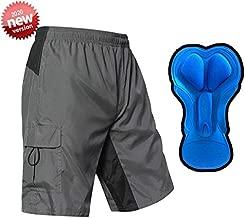 EZRUN Men's 3D Padded Mountain Bike Shorts Lightweight MTB Cycling Shorts (Grey Black,l)