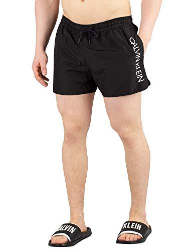 Calvin Klein Herren Badehose SHORT RUNNER - LOGO KM0KM00266, Einfarbig, Gr. Medium (Herstellergröße: M), Schwarz (Black 001)