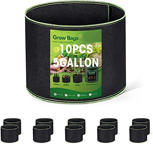 HOUSE DAY Confezione da 10 Sacchetti da 5 galloni per Colture in Tessuto Borse per piantatura in Tessuto Vasi ad Aria Contenitori Morbidi con Manici Neri robusti