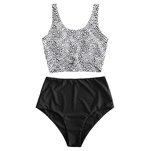 ZAFUL Women's Knotted Front Tankini Set High Waisted Bikini Scoop Neck Swimsuit Two Pieces Bathing Suit (Leopard-D, M)