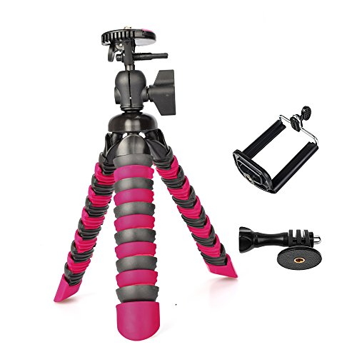 3 in 1 Universal Flexible Tripod 8'' Stand Holder Wrapable Leg with Quick Release Plate and Cell Phone Mount Adapter for GoPro Sony Garmin Virb XE SJCAM Xiaomi Yi Samsung iPhone X 8 Plus 7 6 5 SE
