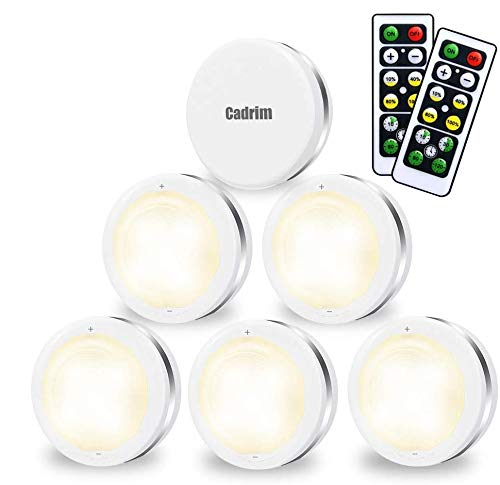 Cadrim Puck Lights, LED Stick on Lightings and Dimmable Under Cabinet Lights Battery Powered Under Counter Tap Lights with 2 Wireless Remote Controls (6 Pack) (White)