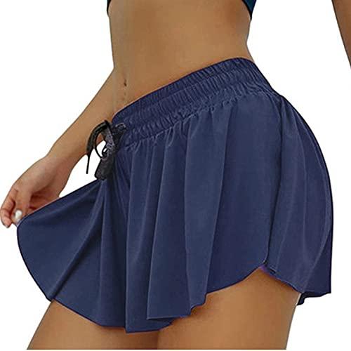 Beautmell Falda deportiva para mujer con forro de cintura media, plisada, con volantes, gimnasio, deportes, yoga, correr, entrenamiento, deportes, falda deportiva, azul marino, 40