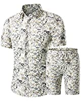 PASOK Men's Floral 2 Piece Tracksuit Casual Button Down Short Sleeve Hawaiian Shirt and Shorts Suit DC03 XL