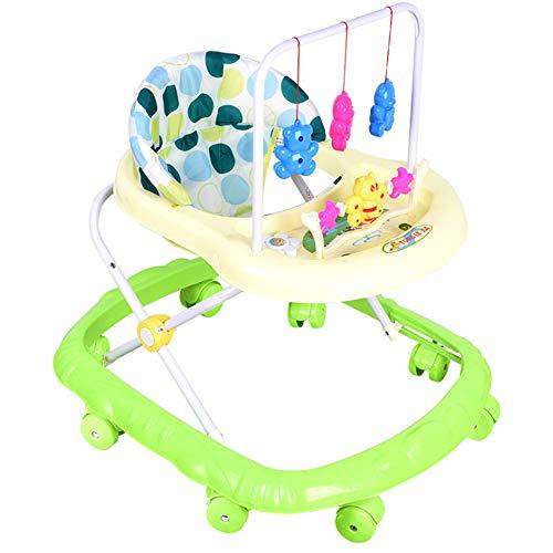 Fikujap Baby Walker Toddler Folding Walker Universal Wheeled Walker Anti-Rollover Folding Walker with Seat, 3 Adjustable Height for Boys And Girls 6-12 Months,Green