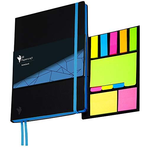 Design Notizbuch QD Papercraft inklusive Haftnotizen, Innentasche und Lesezeichen | Kunstleder Softcover | blau kariert