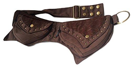 Fannypack For Men Women Cotton Fancy Waistbag Travel Hiking Utility Belt Bumbag (Brown)