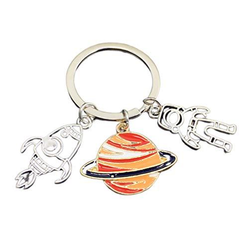 TOYANDONA Astronauten-Schlüsselanhänger aus Metall, Rakete, Raumschiff, Schlüsselanhänger, Autoschlüssel, Geldbörse, Tasche, Anhänger, für Männer und Frauen, Geschenk